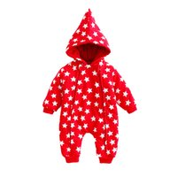 Wholesale baby boys snowsuit - Unisex Baby Boys Girls Christmas Warm Hooded Romper New Year Style Jumpsuit Red Star Printed Snowsuit