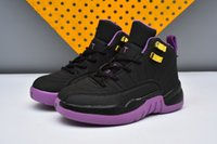 New Kids Retro 12 Basketball Shoes Meninos Garotas Hyper Violet Wolf Grey 12s Gym Red Black / Pink GS Sports Shoes 8 Color