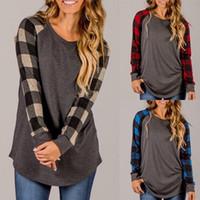 yüksek kaliteli giyim kadın artı boyutu toptan satış-2017 Sonbahar T Shirt Baskı Ile Kadınlar Için Ekose Yüksek Kaliteli rahat Üstleri Şifon Gevşek Kadın Giyim Uzun Kollu T-Shirt Artı Boyutu Gömlek