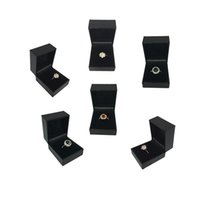 Wholesale Black Ring Boxes - 6Pcs Jewelry Ring Box Organizer High End Black Texture Leatherette Ring Box Wedding Engagement Party Ring Gift Box 5*4.5*3.5CM
