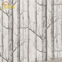Wholesale Black White 3d Wallpaper - Black White Wood Forest Tree Texture 3D Embossed Flocking Non-woven Wallpaper Wallcovering Living Room TV Background Home Decor