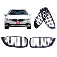 Wholesale bmw series black kidney grills - 2x Gloss Black Double Slat Line Front Bumper Kidney Grill Grille Lattice for BMW F32 F33 F36 Series i i P293