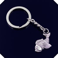nuovo-fashion-men-30mm-keychain-DIY-metal-holder-catena-vintage-carp-fish-32-19mm-antique-silver