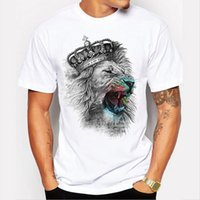 Wholesale Cool Custom Shirts - 2017 Newest Fashion The King Lion Wear Glasses Printed T-Shirt Men's Summer Cool Design Tops Funny Custom Hipster Tees