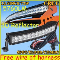 """rectangle led reflectors prices - Free DHL UPS Fedex ship! 13.5"""" 72W 5760LM 10~30V,6500K,LED working bar;3D reflector,Curved,Option wire harness,4x4,LED bar light"""