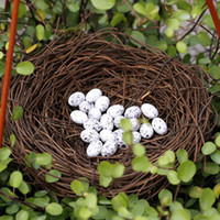 Wholesale Mini Bird Nest - 1pcs Simulation 6cm Mini Bird Nest + 10 Eggs Bonsai Resin Craft Fairy Garden Gnome Tree Decoration Jardin Tool Miniature Home Decor Cabochon