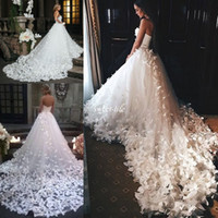 Wholesale Dropped Cathedral Wedding Dress - Couture 2017 Princess Wedding Dresses with Flowers And Butterflies in Cathedral Train Arabic Middle East Church Garden Bridal Wedding Gowns