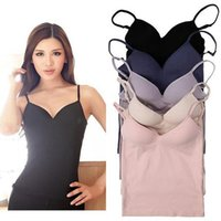 Wholesale active building - Wholesale-Modal Adjustable Strap Built In Bra Padded Self Mold Bra Tank Tops crop top Camisole Vest