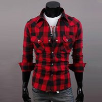 Wholesale Check Shirt New Style - Wholesale- New fashion Mens Slim Fit Casual & Dress Plaid Check Shirt Korean Style Red Black US Size