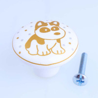 Wholesale flower ceramic knobs - Cartoon children room furniture knobs Small flower dog ceramic dawrer shoe cabinet pulls knobs handles kids furniture knob