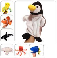 muñecas que hablan al por mayor-Animal Marionetas de mano Bebé de peluche de juguete Animales de granja Granja Hablar Apoyos Grupo de animales Kindergarten Juego Muñeca Juguetes educativos al por mayor