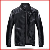 Wholesale Mens Synthetic Leather Jacket - Winter Jackets For Men Outdoor PU Brown Black Motorcycle Leather sleeve Mens Jackets Outerwear free shipping