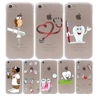 Wholesale Doctor Iphone Cover - Nurse Doctor Dentist Stethoscope Tooth Hard Case For iPhone X 10 8 7 6 6S Plus 5S 5C PC Case Covers