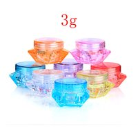 Wholesale Glass Skin Care Container - 3g colored empty cosmetic containers with screw cap, sample diamond shape containers jar skin care cosmetic cream jars pot tins
