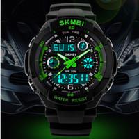 skmei s watch toptan satış-Skmei Sıcak Satmak S ŞOK Hombre Spor Saatler Erkekler Led Haneli izle Saatler LED Dalış Askeri Saatı