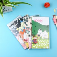 Vente en gros - 4pcs / lot Funny Cute Cartoon Moomin 48K PU Cover Notebook Diary Book Exercise Composition Notepad Creative Gift Papeterie