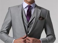 Wholesale Mens Vest Tie Sets - Wholesale- New Arrival Custom made Light Gray Tailcoat Men Suit Set Dress Slim Wedding Suits Mens gray Groom Tuxedos( jacket+Pants+vest+tie