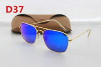 Wholesale Europe Woman Fashion - 1PCS Europe and the United States fashion retro brand designer sunglasses men and women 58mm glass lens glasses gold frame brown box acce