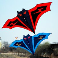 Wholesale bamboo batting - Wholesale- 180cm Large Bat Kite Manual Stitching Kites string Easy Control Flying Toy Children Gift Outdoor Sports Toys