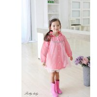 Wholesale Princess Kids Raincoats - Girls Rain Coat 2017 Impermeable Hot Pink Children Raincoat Hot Sale Rainwear Princess Girls Hooded Rain Coat Kids