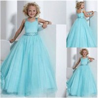 Princess Ballgown Blue Wedding Dress for sale - Blue Straps Pageant Prom Party Princess Ballgown Wedding Flower Girls Dresses