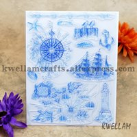 Wholesale Sailboat Card - Wholesale- Scrapbook DIY photo cards account rubber stamp clear stamp finished transparent chapter sailboat navigation 14x18cm KW641913