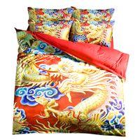 tam boy pamuklu yatak takımları toptan satış-Geleneksel Chinatown Ejderha Baskı Nevresim Takımları Ikiz Tam Kraliçe Kral Kumaş Pamuk Yatak Örtüsü Yorgan Yastık Shams Yorgan Kapakları