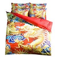 Wholesale Dragon Comforter King Size - Traditional Chinatown Dragon Printing Bedding Sets Twin Full Queen King Size Fabric Cotton Bedclothes Duvet Covers Pillow Shams Comforter