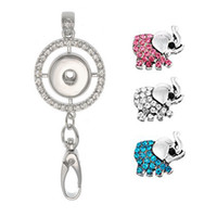 Womens Office Lanyard ID Badges Holder Collier avec 3pcs Elephant Rhinestone Snap Charms Jewelry Pendentif Clip N178S