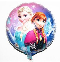 Wholesale Aluminum Balloon Cartoon - Aluminum foil balloon frozen princess Quality Happy Birthday Decoration Frozen Princess Queen Anna Round Party Balloon