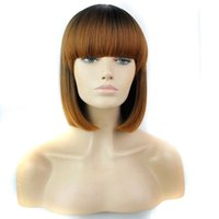 Wholesale hair wig bangs - Ombre Synthetic Hair Wigs With Full Bang 12inch Heat Resistant Black Synthetic Short Bob Wig Popular Style