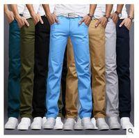 Wholesale Skinny Pant Knee Length - New Arrival Men Designer Brand Straight Pants Fashion Casual Slim Custom Fit Candy Skinny Denim Pencil Jeans H0290