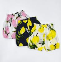 Wholesale Girl Knickers Pants - Lemon Baby Pants Newborn Print Fruit Bloomers Infant Pineapple Shorts Geometric Harem Pants Infant Summer Bloomers Trousers Knickers J287