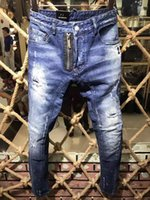 Wholesale Hot Sell Men Jeans - High quality 2017 new Brand men d2 jeans,Painted Print jeans, Fashion jeans men calca jeans dsq 100% cotton denim men trousers hot sell A153