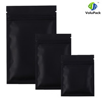 Wholesale Small Food Plastic Bags Wholesale - High quality 100 X Metallic Mylar ziplock bags flat bottom Black Aluminum foil small zip lock plastic bags