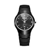 Wholesale Tungsten Steel Watch Dom - Luxury Watch Bussinis Tungsten Steel Mens Chronograph Watch Quartz Watches Clock Calendar Waterproof Wristwatch DOM Brand WHDQ002