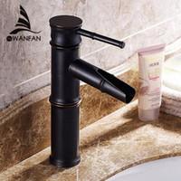 Wholesale Ceramic Art Basin - Bamboo Shape Easy installation Art Deco Deck Mounted Basin Sink Retro Faucet Black Bathroom Mixer Faucet Free Shipping SY-326R