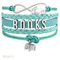 Wholesale Gift Wrapping Books - Custom-Infinity Love Books Charm Wrap Bracelets Christmas Gift Bracelets For Women Pink Black Blue Aqua Multilayer Leather Custom Bracelet