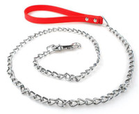 Wholesale Dog Leash Metal - Dog Chian Leash Heavy Duty Metal Chain Leash With 20cm Leather Handle and 100cm Chain