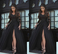 Wholesale Parties Things - 2018 Modern Long Sleeves Evening Dresses Black Applique Lace Thing-High Split Prom Dress Custom Made Formal Party Gowns