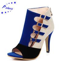ingrosso sandali blu più il formato-All'ingrosso-Polaris 2016 sandali delle donne più il formato 33-43 moda zip tacco alto scarpe da donna estate scarpe donna ufficio nero blu rosso SS613