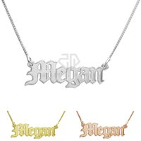 Wholesale Old English - Stainless Steel Birthday Gift Personal Delicate Name Necklace Customized Personalized Nameplate Pendant Old English style Name Jewelry