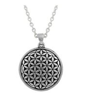 Wholesale Wholesale Dangle Charms Lobster Clasps - Flower of Life Circle Slide Necklace Dangle Antique Silver Plated Religious Charms with Lobster Clasp