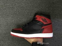 Wholesale Women Shoe Size 41 - (withbox) 2017 air Retro 1 OG High Banned black red white men basketball shoes women sports shoes athletic trainers 2017 sneakers size 41-47