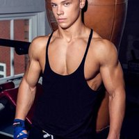 Wholesale Sleeveless Muscle Tees - Wholesale free shipping Men Tank Top Solid Mens Muscle Sleeveless T Shirts Stringers Tee Fit Elastic Singlets Undershirt Cotton Tops Workout