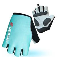 Wholesale Fingerless Padded Gloves - DHL Qepae bike riding gloves biking gloves gel pad luminous fingerless glove night cycling hiking spinning glove