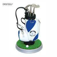 Wholesale CRESTGOLF Creative Perfact Golf Present Golf Pen Holder Golf Bag three Ballpoints and clock colors available