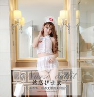 Wholesale Sexy Nurses Dress Uniform - 2017 New Sexy Lady One Outfit White Lace Nurse Uniform Naughty Women Doctor Office Game Cosplay Lingerie Erotic Maid Teddy Slips