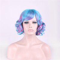 Wholesale Red Lolita Wigs - Lolita Harajuku Cartoon Short Curly Cosplay Hair Wigs Side Bang Heat Resistant Wigs 3 Colors with Hair Net