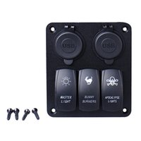 Waterproof 3 Gang Car Switch Panel LED Rocker com 2 USB Socket Cigaretter Plug para Marine / Boat / Rv 12V Freeshipping Mais novo